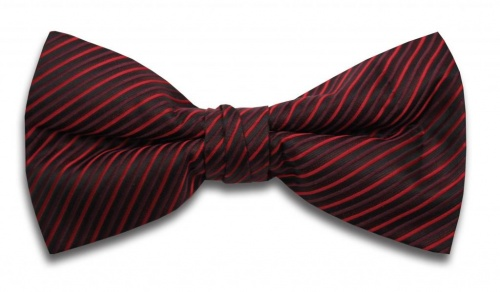 Polyester Pre-Tied Red Dickie Bow Tie with Diagonal Stripe Design